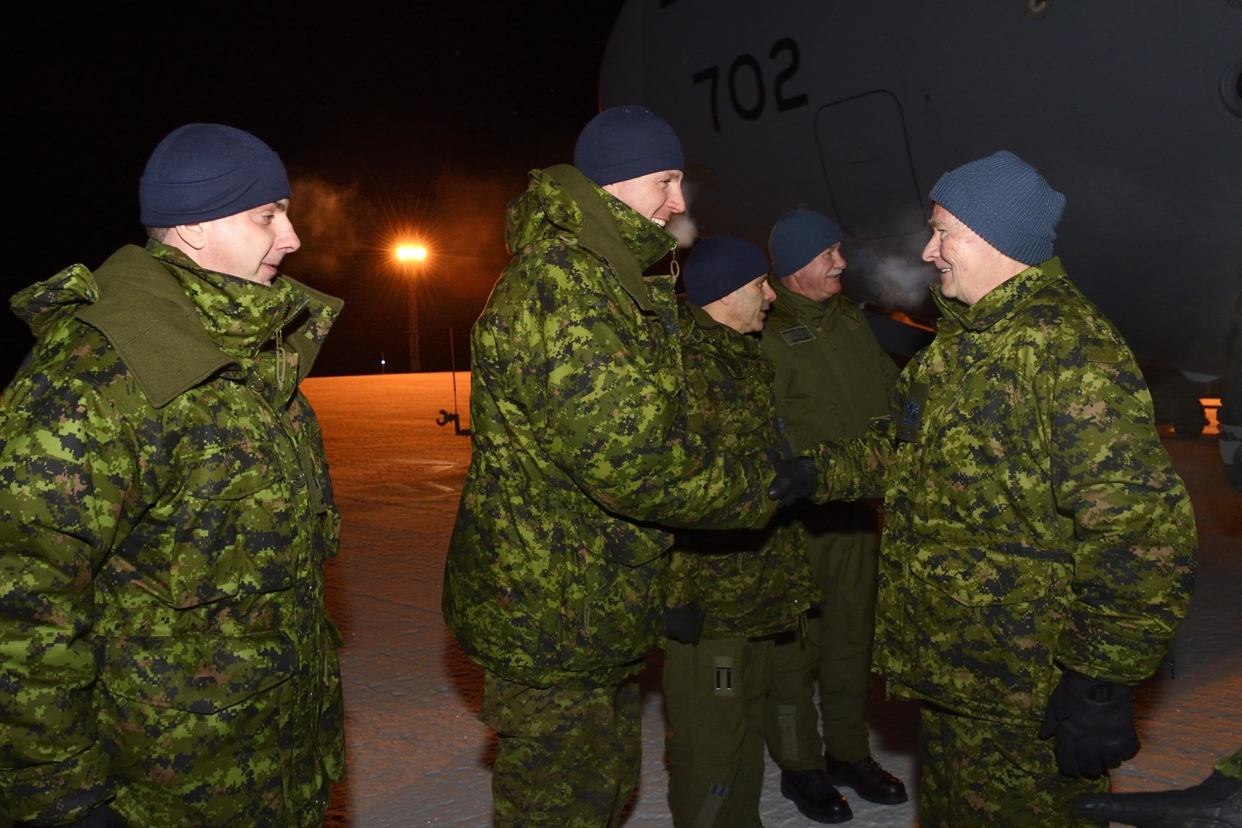 Upon arrival, His Excellency was welcomed by CFS Alert outgoing commander, Major Scott Marshall; incoming commander, Major Brian Tang; and CFS Alert Station warrant officer, Master Warrant Officer Didier Pignatel.