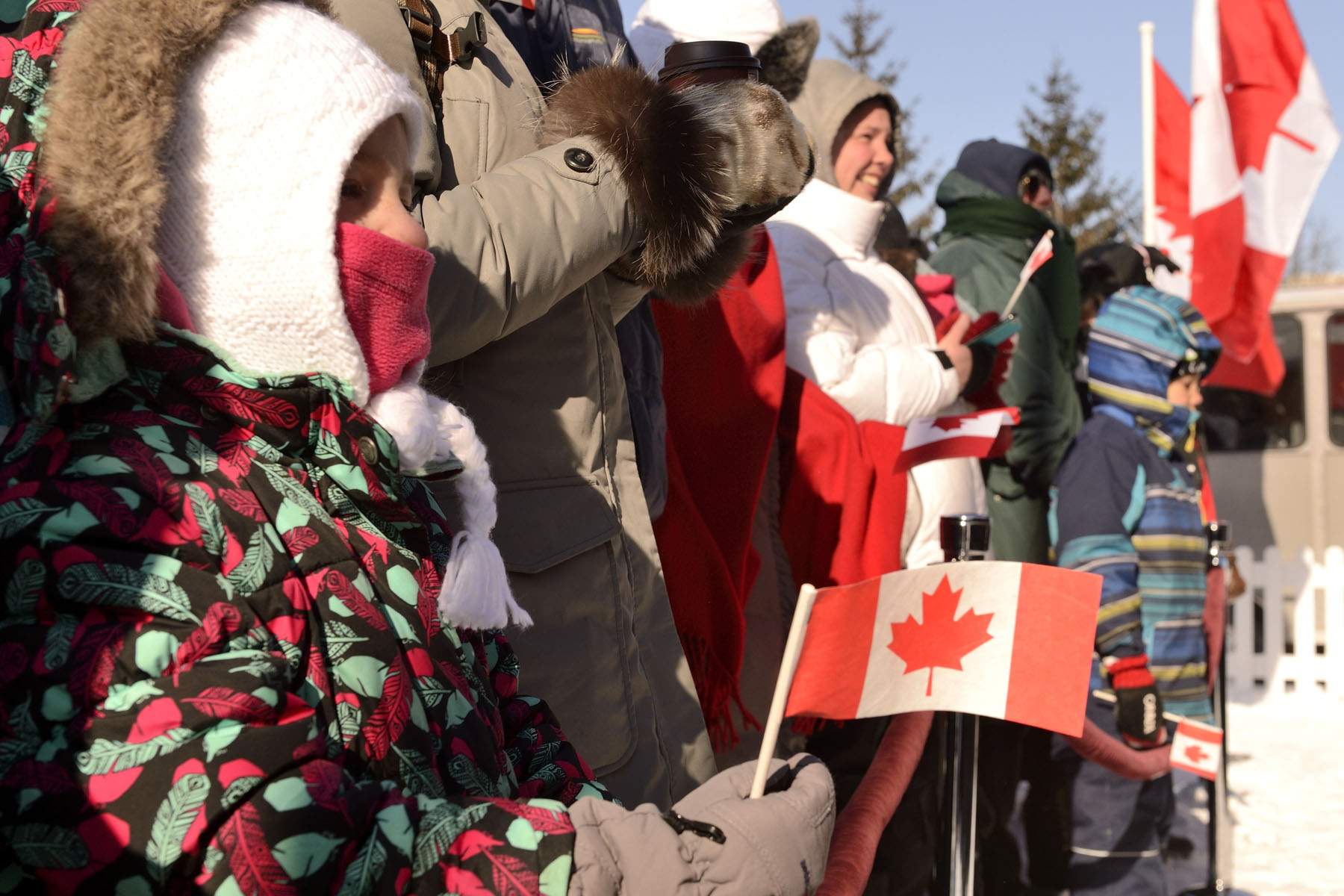 Many Canadians braved the cold to come celebrate the 50th anniversary of the National Flag of Canada at Confederation Park in Ottawa.