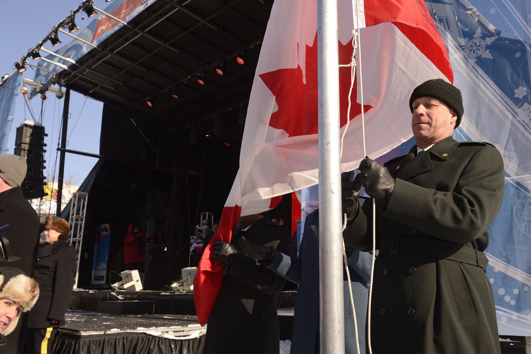 As the national anthem was song by the Choir, the National Flag of Canada was raised.