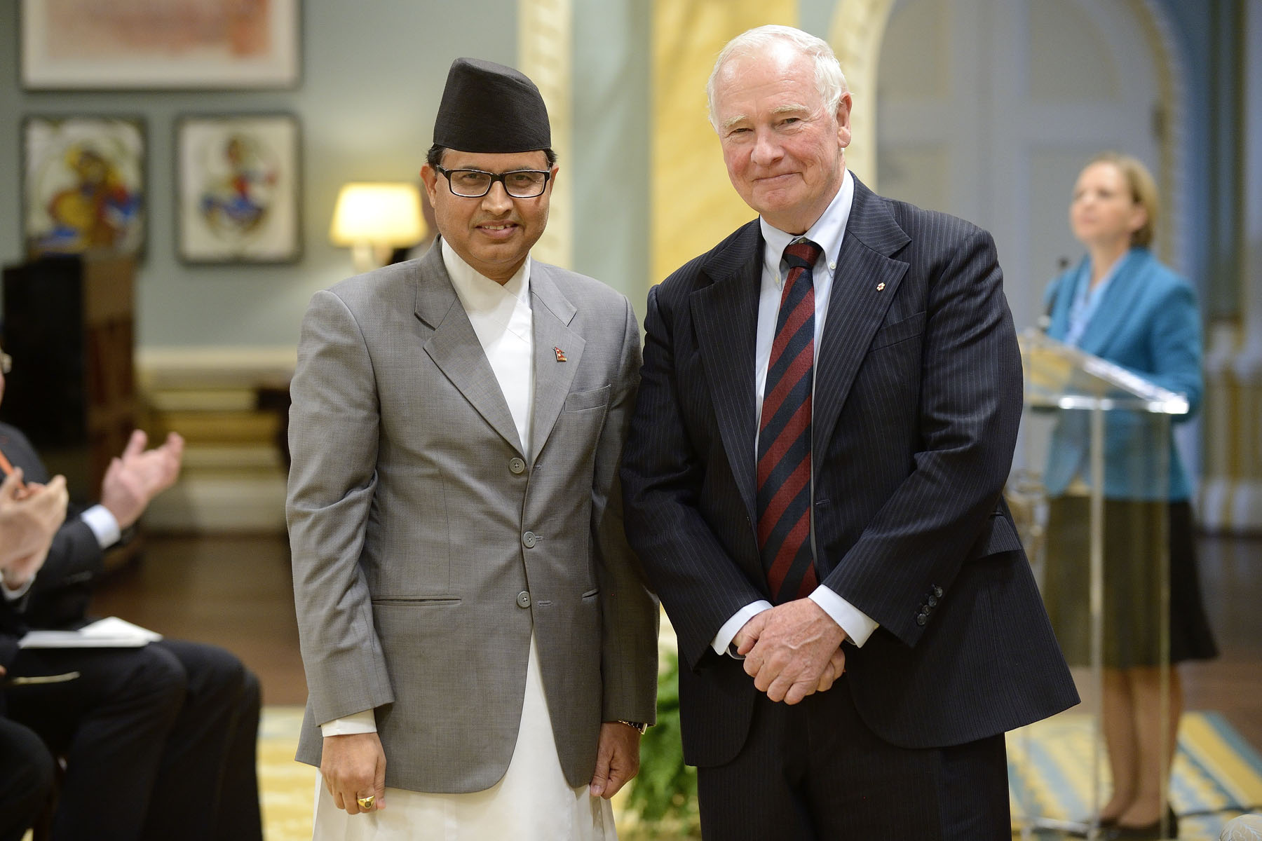 The Governor General then received the letters of credence of His Excellency Kali Prasad Pokhrel, ambassador of the Federal Democratic Republic of Nepal.