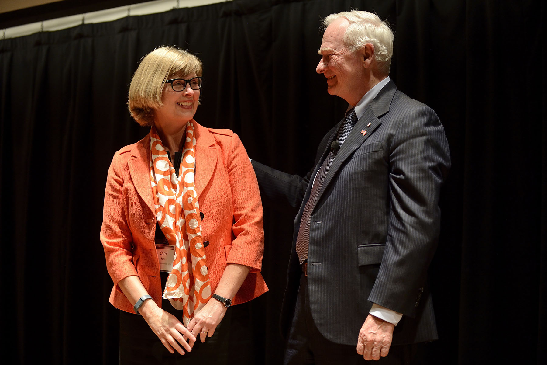 The event was held at the University of Minnesota and was co-organized with the Minnesota International Center (MIC) and the Humphrey School of Public Affairs at the University of Minnesota. His Excellency is seen here with Carol Engebretson Byrne, President, Minnesota International Center.