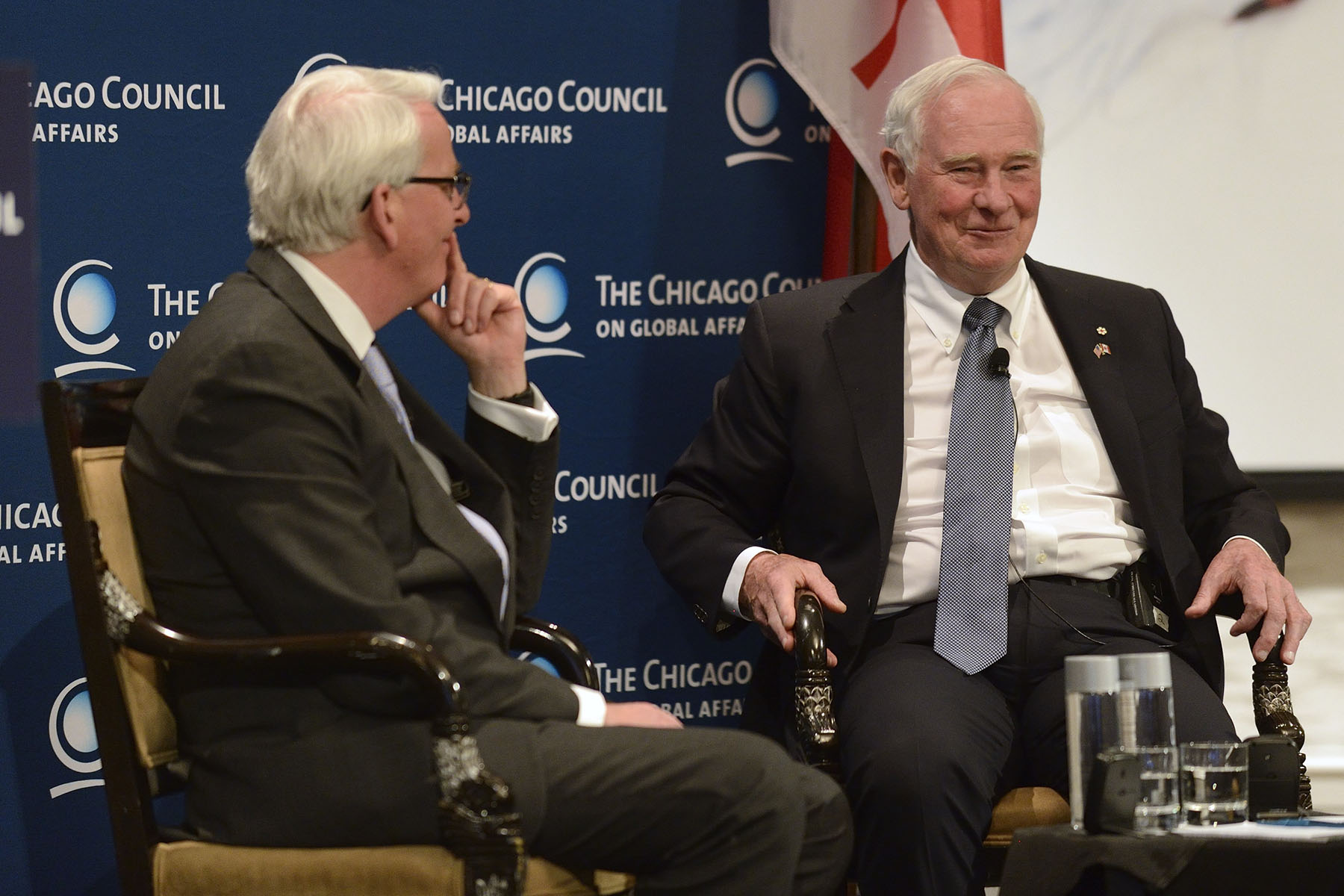 Following his address, the Governor General answered questions from Ambassador Ivo Daalder, President of The Chicago Council on Global Affairs (left).