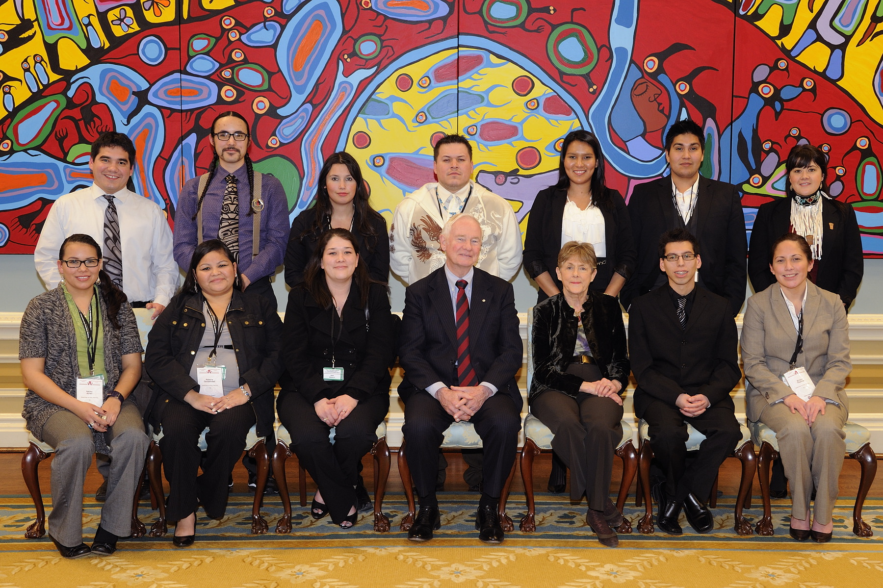 A group photo of the young First Nations representatives and Their Excellencies was taken in the Ballroom following the discussion.
