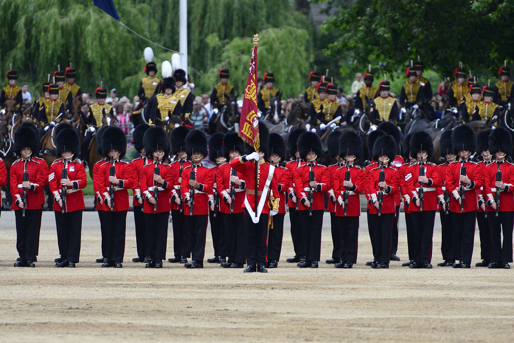 This year, the Coldstream Guards Colour were trooped.
