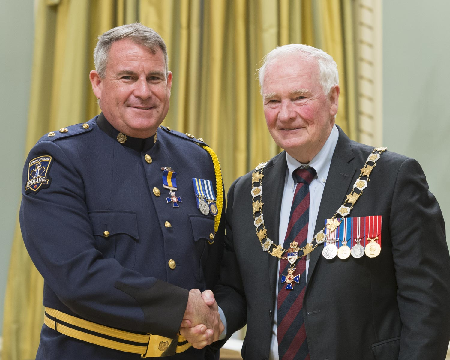 His Excellency presented the Order at the Member level to Superintendent Sean Edward Auld, M.O.M.,  of the Halifax Regional Police, Nova Scotia.