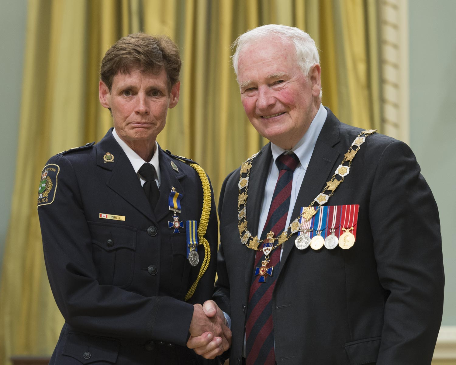 His Excellency presented the Order at the Member level to Inspector Cindy Joyce White, M.O.M., of the Niagara Regional Police Service, St. Catharines, Ontario.