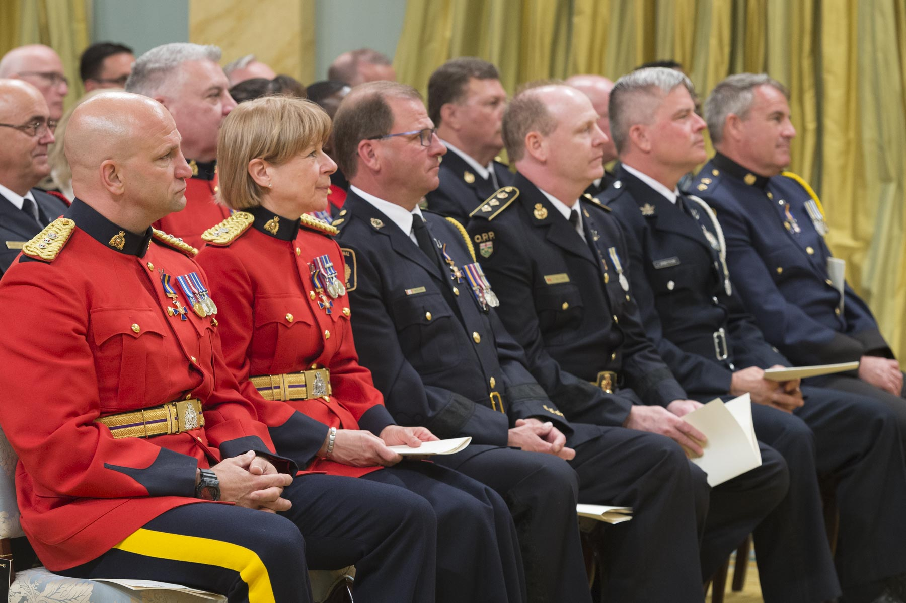 The Order of Merit of the Police Forces was created in 2000, to recognize conspicuous merit and exceptional service by members and employees of Canadian police forces whose contributions extend beyond protection of the community. Three levels of membership with post-nominal letters reflect long-term, outstanding service: Commander (C.O.M.), Officer (O.O.M.) and Member (M.O.M.).