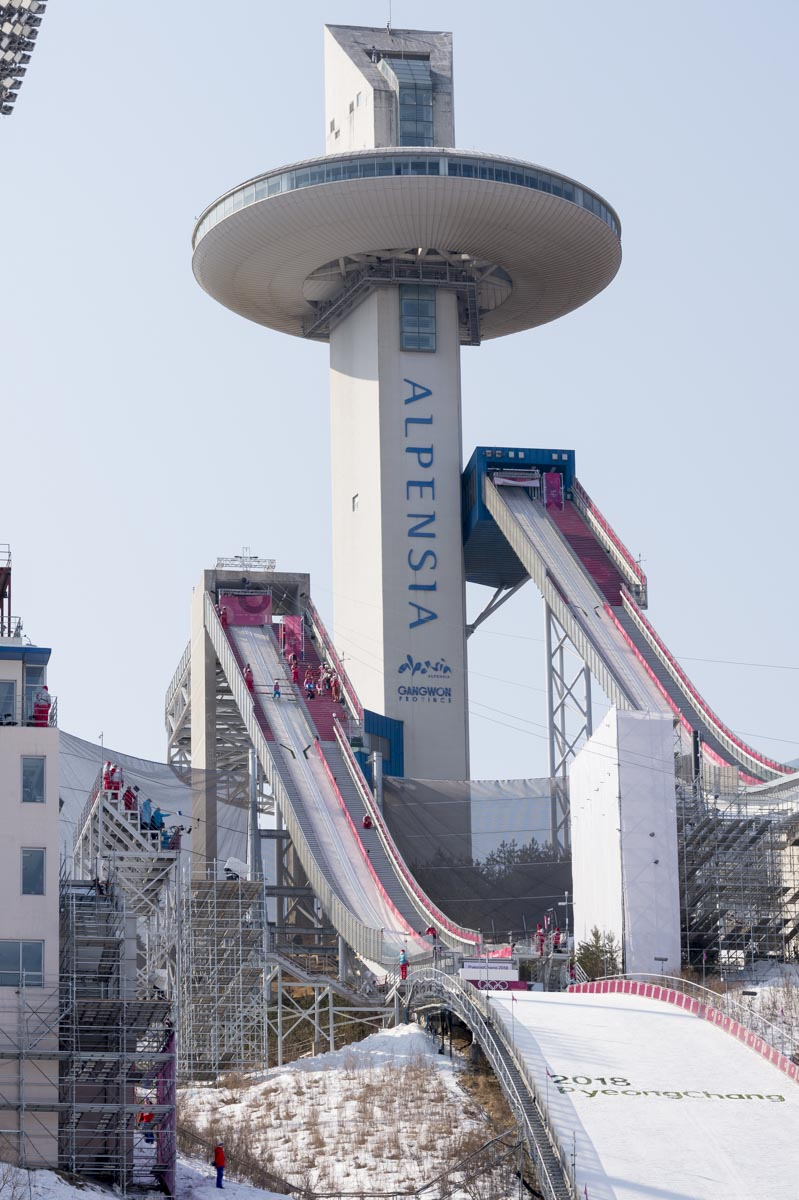 The spectacular ski jumping facility in PyeongChang.