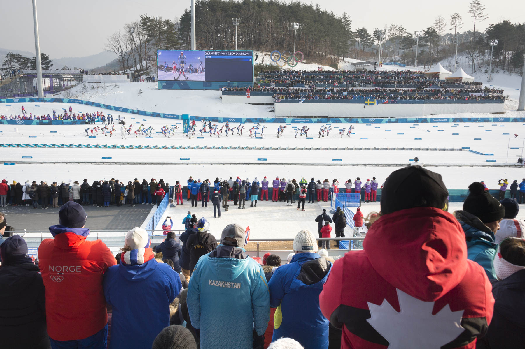 She then headed to the 7.5-kilometre skiathlon race to watch our Canadian athletes Cendrine Browne, Emily, Nishikawa, Anne-Marie Comeau and Dahria Beatty perform.