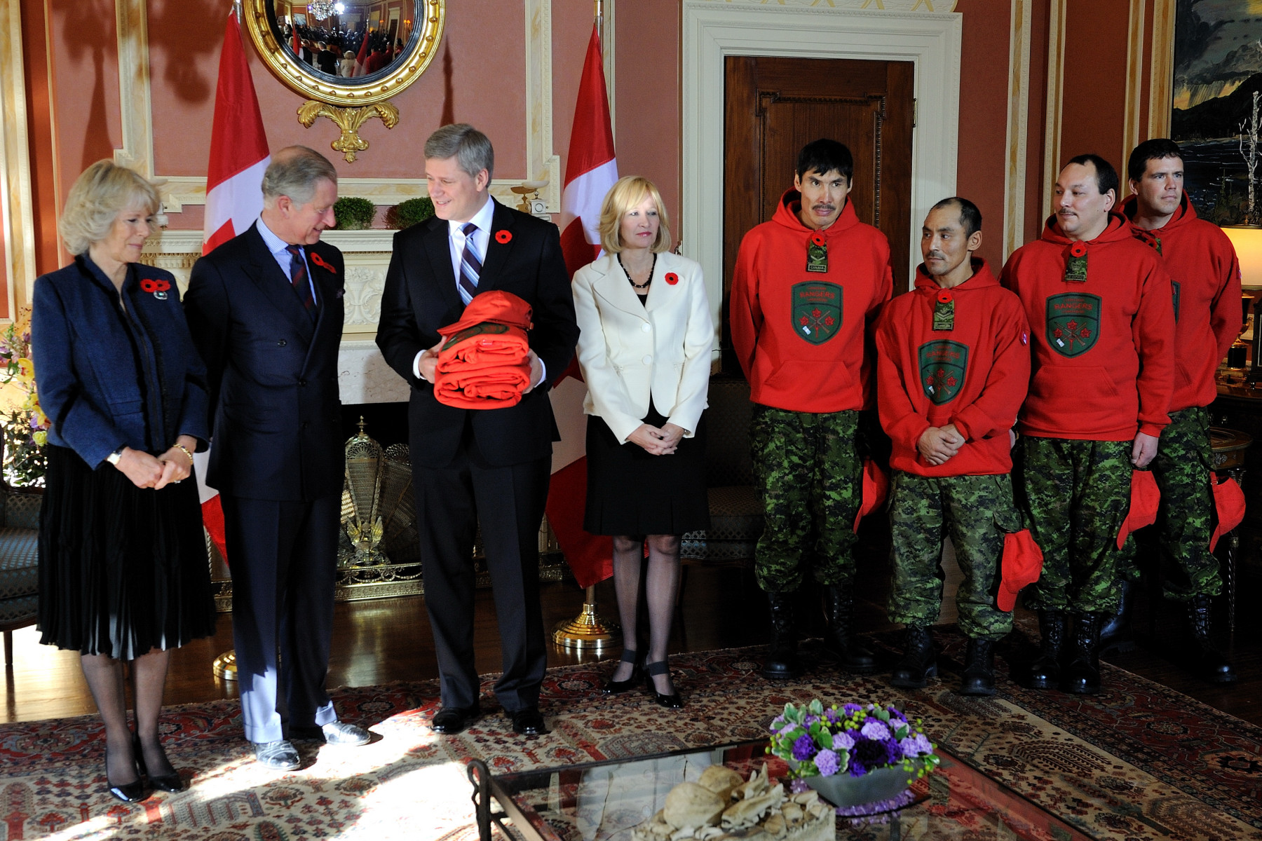 Their Royal Highnesses also met Canadian Prime Minister, Mr. Stephen Harper, and his wife, Mrs. Laureen Harper, who introduced them to members of the Canadian Rangers.