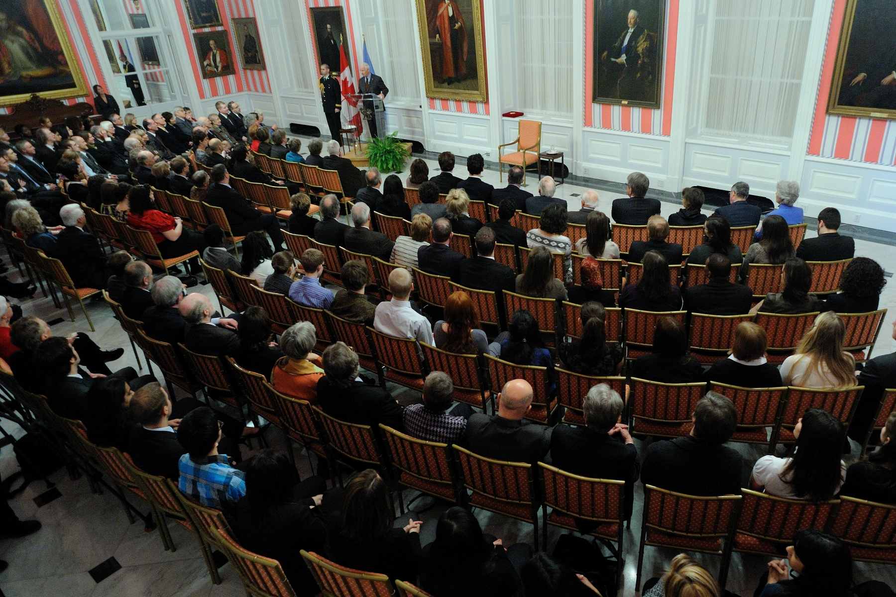 His Excellency the Right Honourable David Johnston, Governor General of Canada, and Honorary Patron of the United Nations Association in Canada (UNA-Canada), presented the 26th Pearson Peace Medal to Ernie Regehr, O.C., during a ceremony at Rideau Hall, on January 21, 2011.