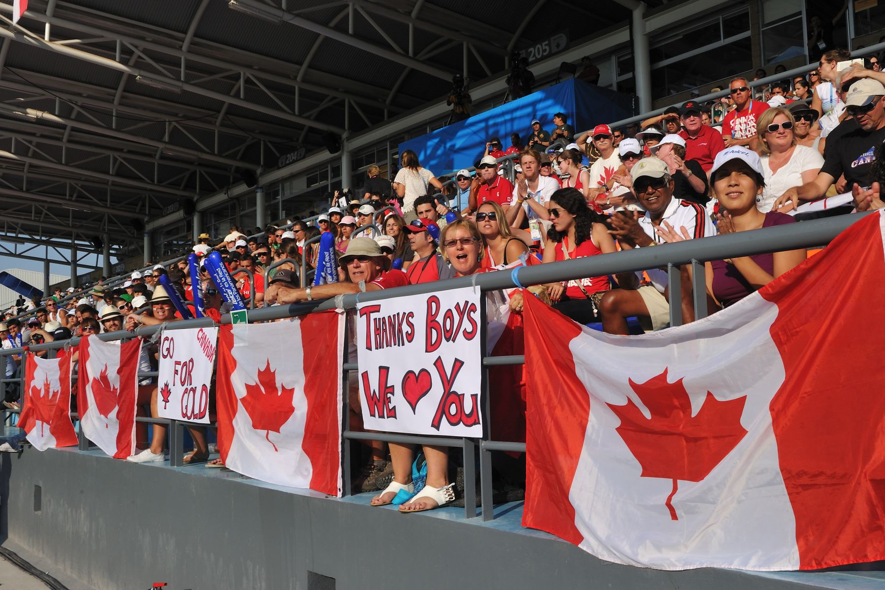 Family members, friends and other Canadian athletes cheered on Team Canada.