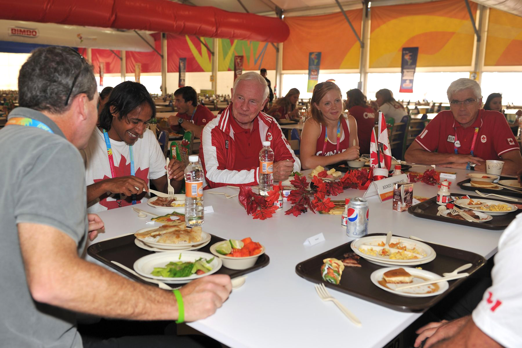 His Excellency had lunch with Team Canada athletes in the village's main dining hall to congratulate them on their great performances and success at these Games.