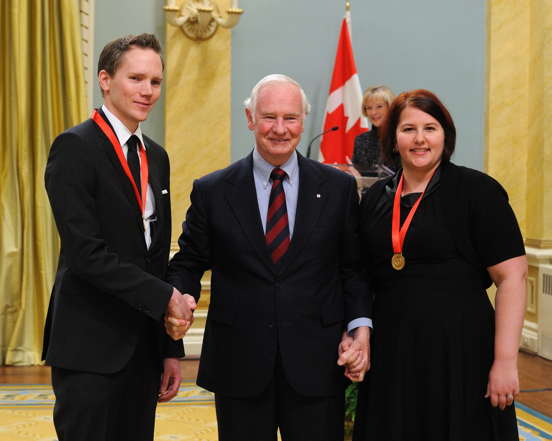 His Excellency awarded the Governor General's History Awards for Excellence in Teaching to Chad Howie and Sarah Beech, from Valley Creek Middle School, in Calgary, Alberta, for their grade 7 class Seven Years War project.