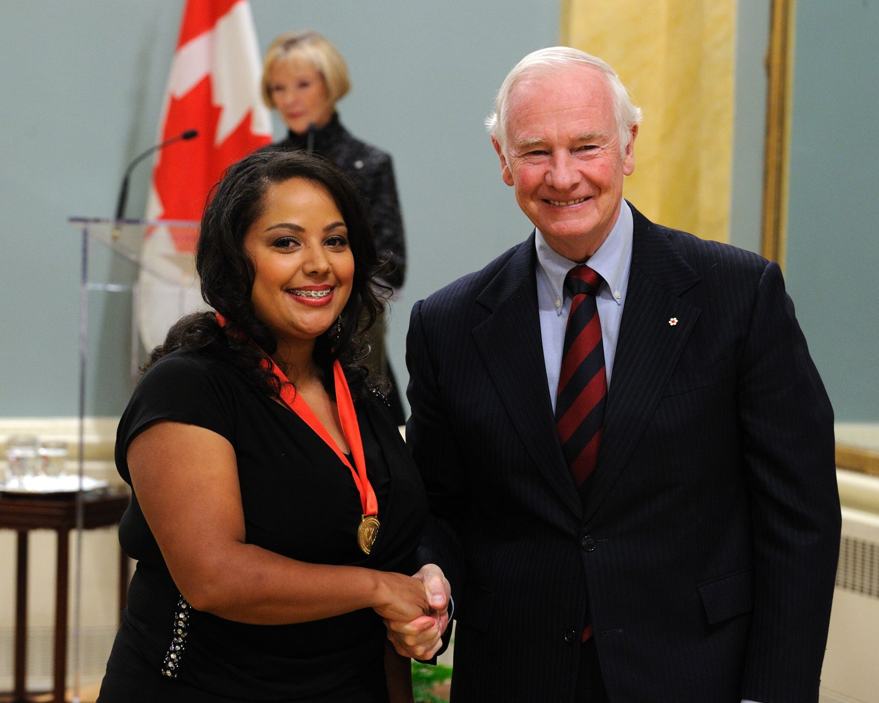 His Excellency awarded the Governor General's History Awards for Excellence in Teaching to Shantelle Browning-Morgan, of Walkerville Collegiate Institute in Windsor, Ontario, for piloting an innovative course that illuminates the history of a unique group of people who settled in the local region to escape slavery in the United States.