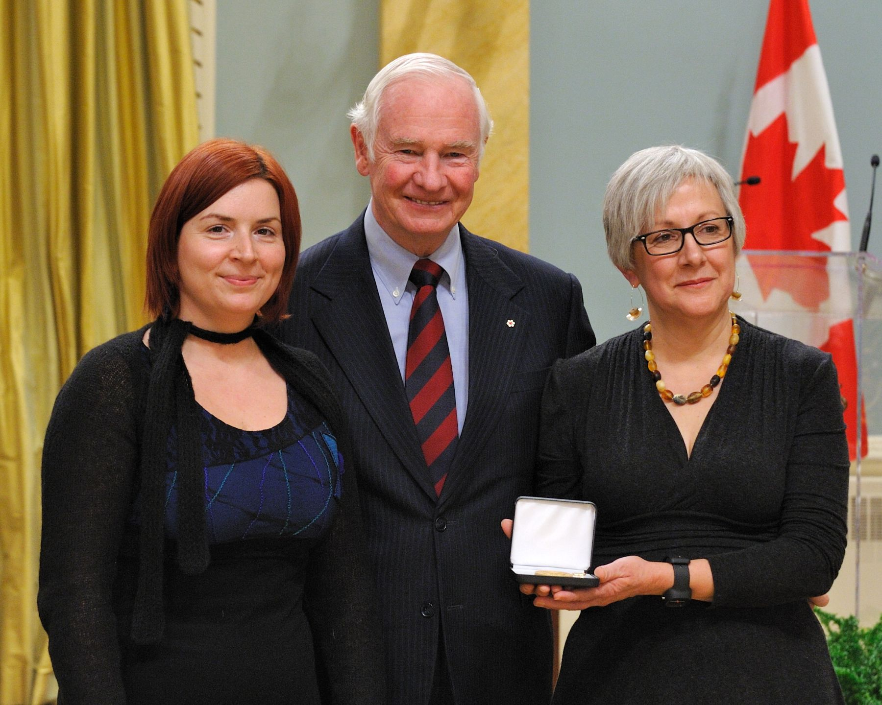 "His Excellency awarded the Governor General's History Award for Excellence in Museums – History Alive! to Carol Pauzé and Cybèle Robichaud of the Montréal Science Centre for their project ""All Hands to Combat! Life in the Old Port of Montreal, 1939-1945 (A Virtual Exhibition)."""