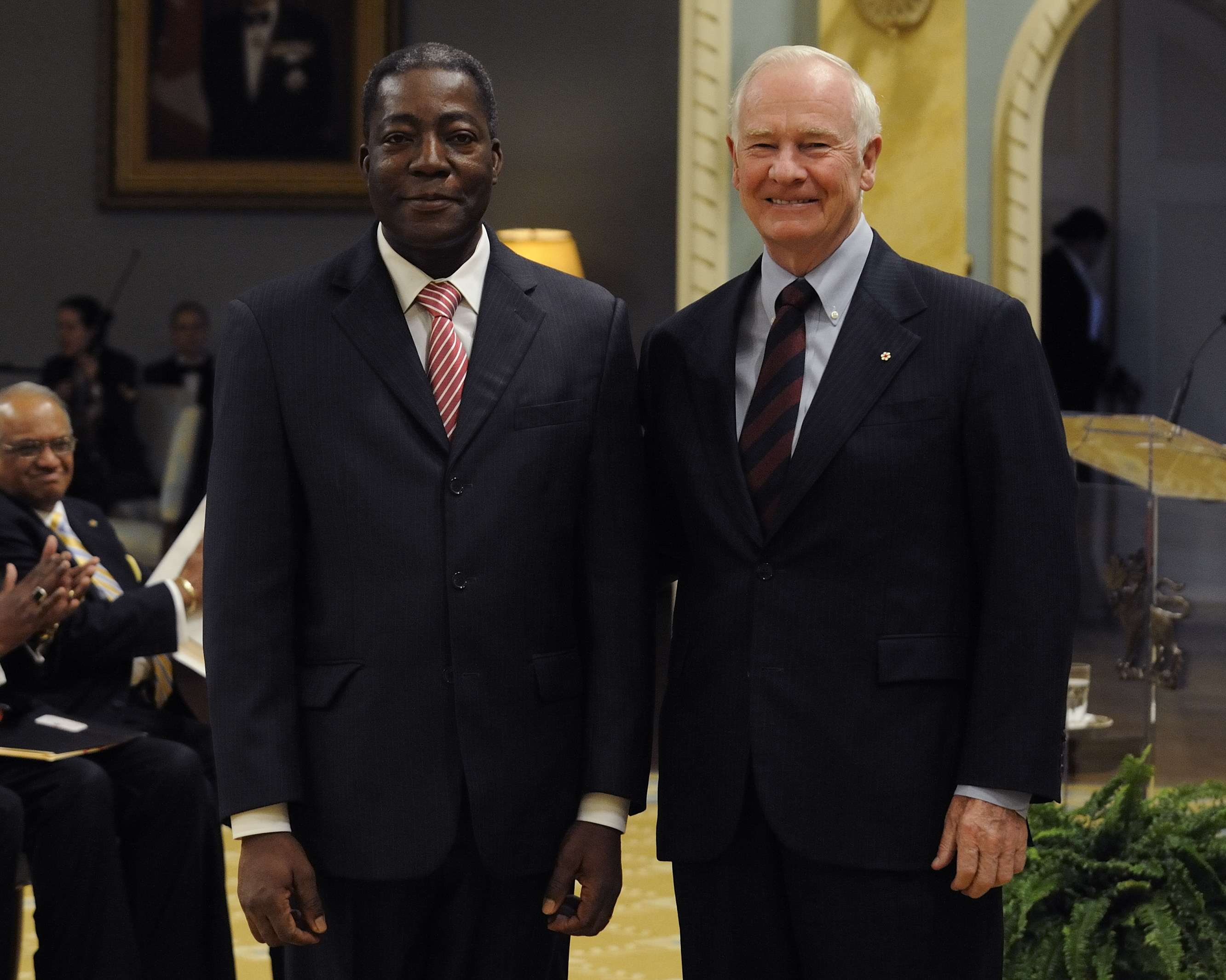 A presentation of credentials from five new heads of mission took place on March 30, 2012, at Rideau Hall. On this occasion, the Governor General first received the credentials of His Excellency Amadou Adrien Koné, Ambassador of Burkina Faso.
