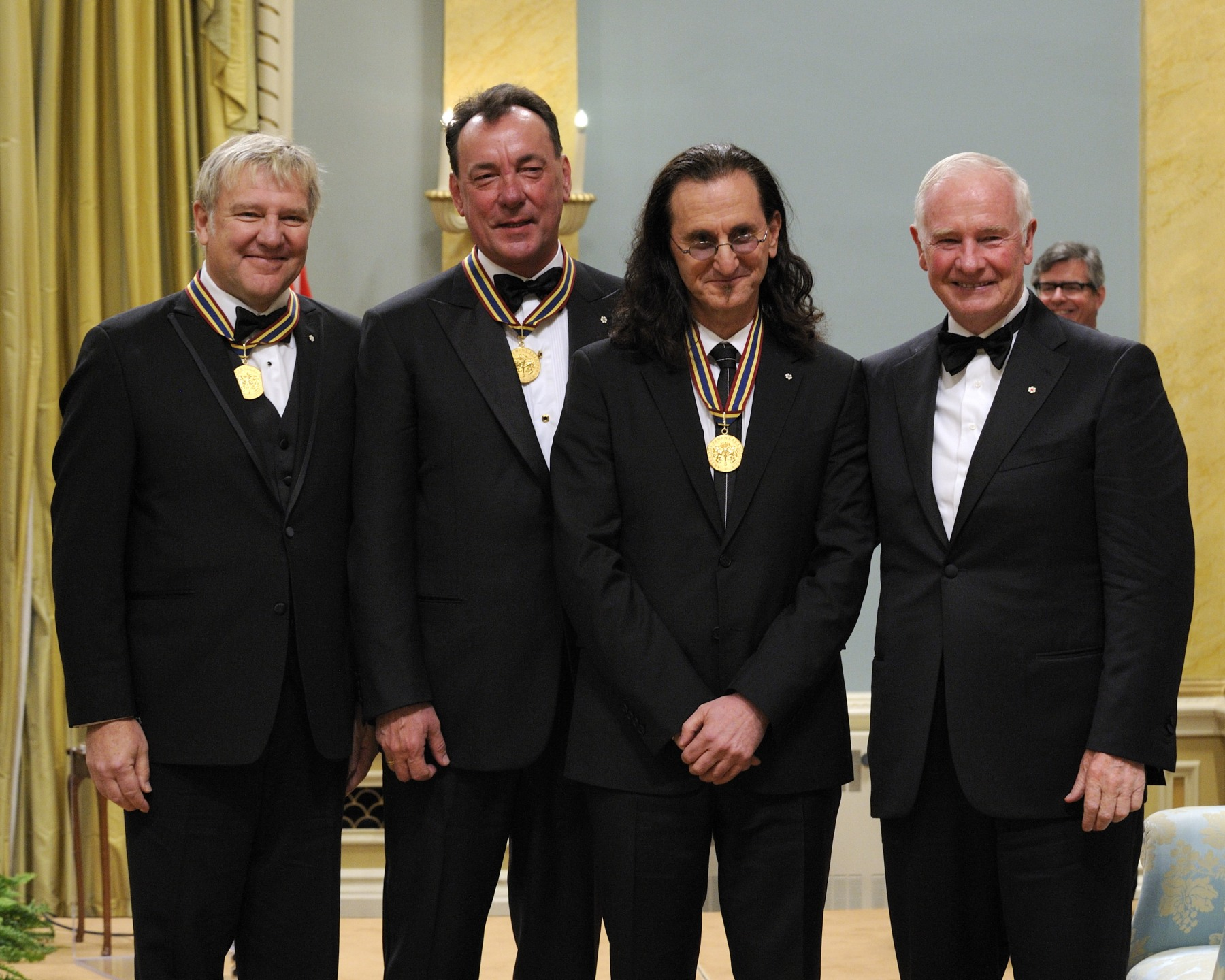Mr. Alex Lifeson (guitar), Mr. Neil Peart (drums) and Mr. Geddy Lee (bass guitar, keyboard and lead singer), the members of Rush, the rock band, received the Lifetime Artistic Achievement Award.