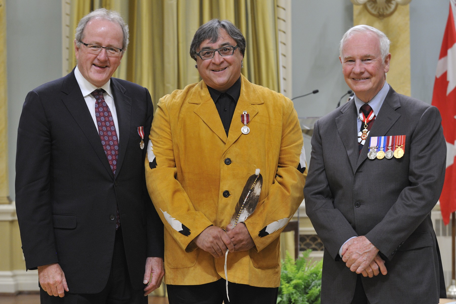 On the occasion of National Public Service Week, Diamond Jubilee Medals were presented to public servants whose contributions were recognized by their department. Mr. Ray Hatfield, Aboriginal Affairs and Northern Development Canada, is pictured with the Governor General (right) and Mr. Wayne Wouters, Clerk of the Privy Council (left).