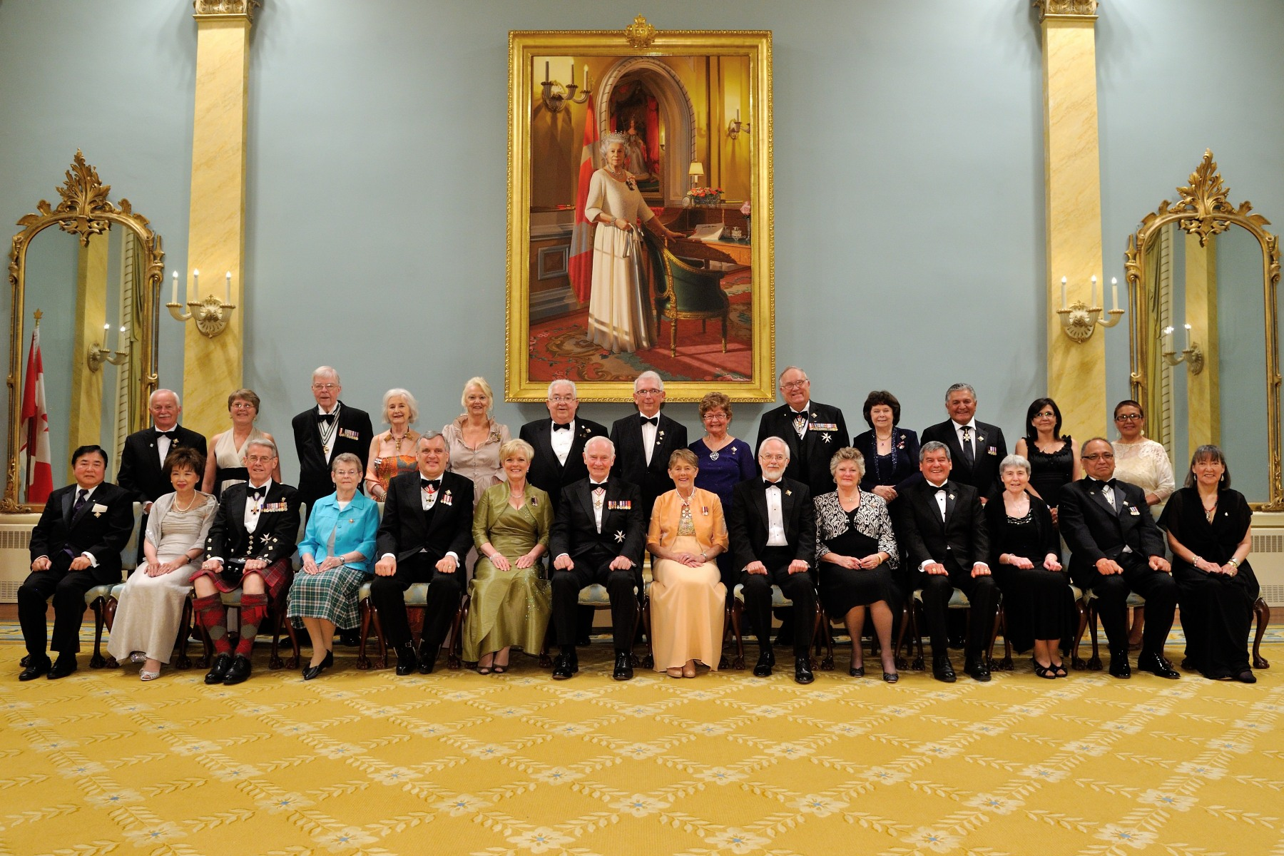 Official photo of Their Excellencies with lieutenant governors and territorial commissioners inside the Ballroom at Rideau Hall.