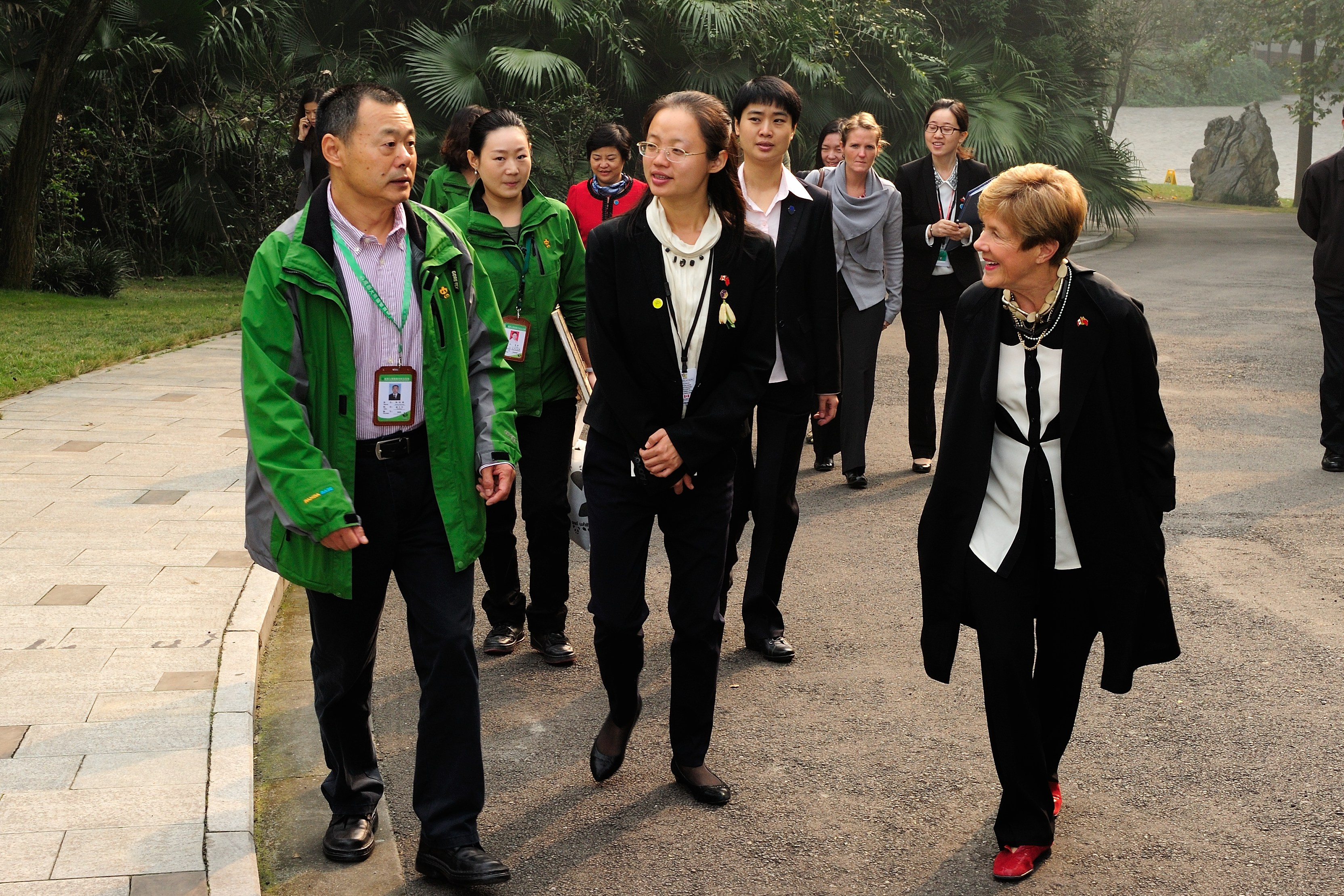 Upon her arrival at the Chengdu Panda Base that morning, Her Excellency will be greeted by its Director, Dr. Zhang Zhihe.