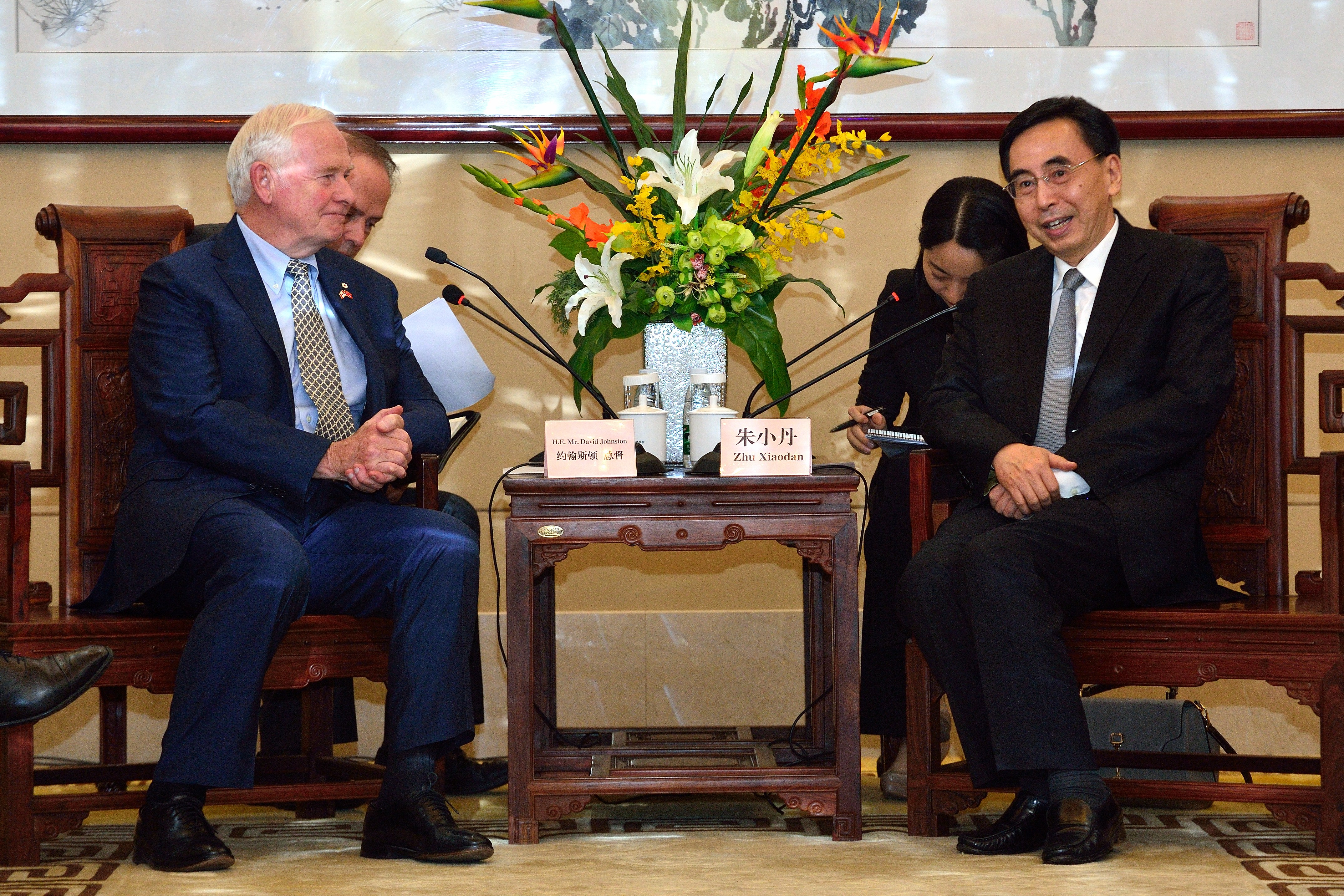 Prior to attending the opening of the Barkerville photo exhibit at the Guangdong Museum of Chinese Nationals Residing Abroad, the Governor General met with His Excellency Zhu Xiao Dan, Governor of Guangdong Province.
