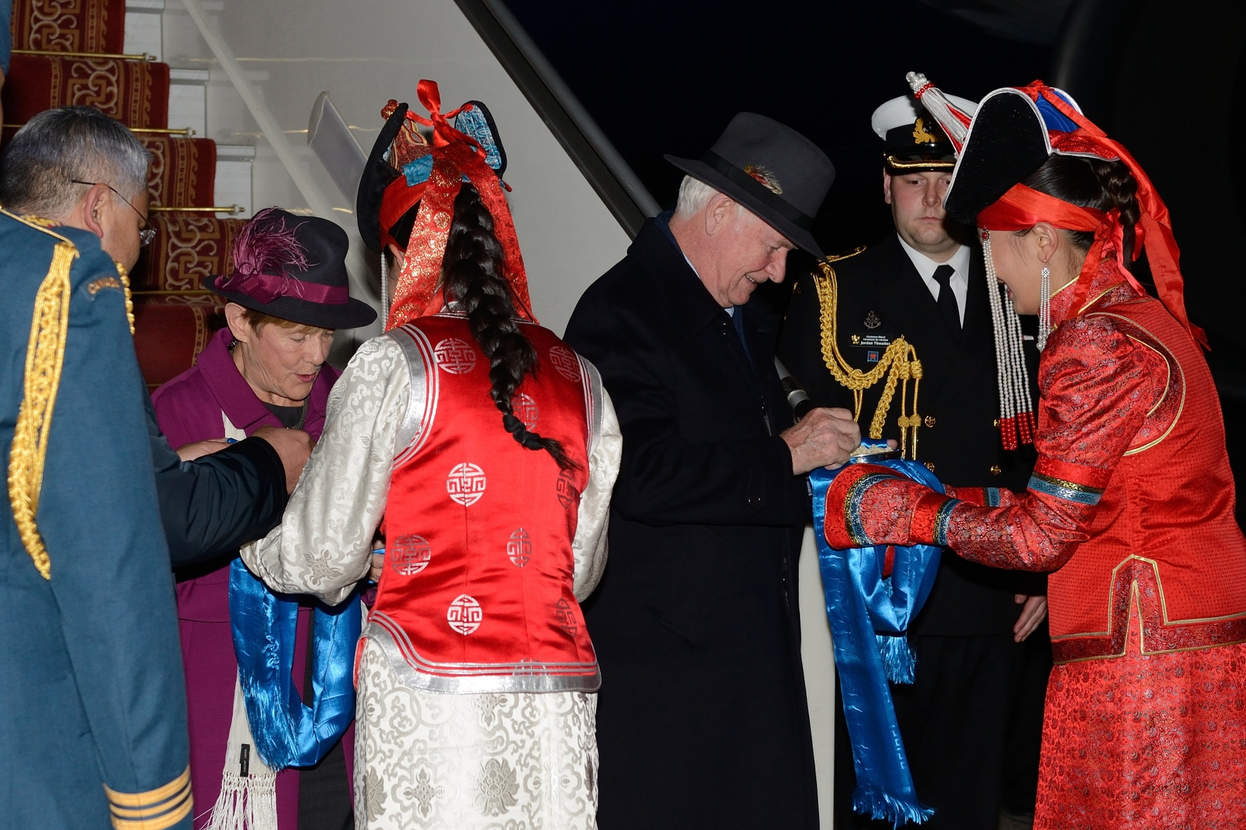 As part of Mongolian protocol, Their Excellencies were offered a hadag, a traditional practice where the guests of honour are presented with a blue silk scarf and a silver bowl containing a dairy product.