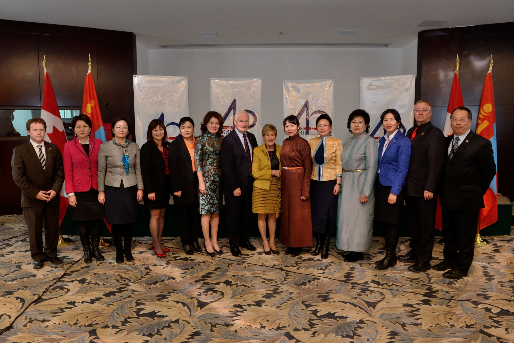 That afternoon, Their Excellencies and members of the accompanying delegation met with women parliamentarians who are taking on a stronger leadership role in Mongolia.