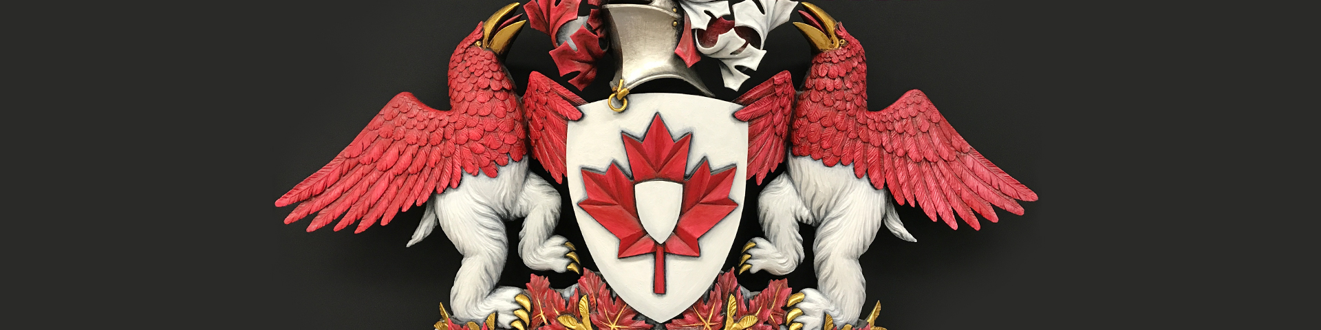 Sculpture of the Canadian Heraldic Authority coat of arms