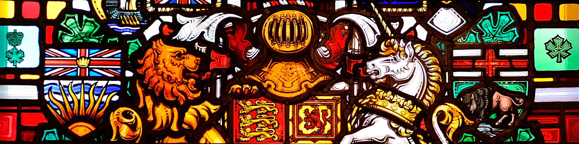 Stained glass with coats of arms