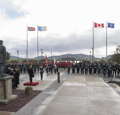 """On September 20, 2018, Her Excellency was officially welcomed to the Newfoundland and Labrador province with a ceremony during which she received military honours including a guard of honour, the """"Viceregal Salute"""" and a 21-gun salute."""