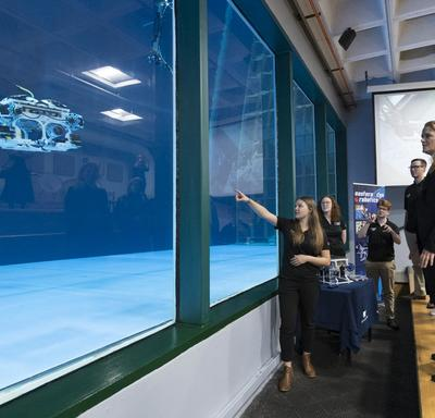 Next, she visited the Centre for Sustainable Aquatic Resources' flume tank where youth from Eastern Edge Robotics tested their remotely operated vehicles.