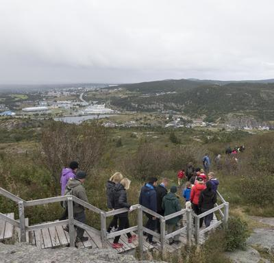 The hike took place at Signal Hill which was the site of St. John's harbour defences from the 17th century to the Second World War, and where Guglielmo Marconi received the world's first transatlantic wireless signal in 1901.