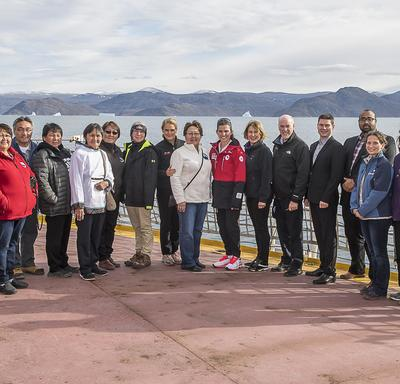 Upon arrival on the CCGS Amundsen, a group photo was taken on the deck.