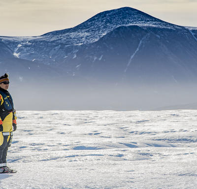 Her Excellency stopped to take in the remarkable views from the ice island.