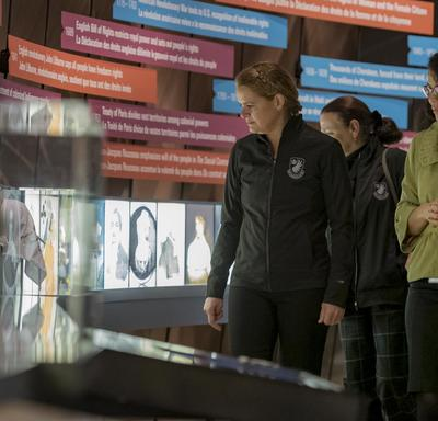 The Governor General is touring one of the galleries at the Canadian Museum for Human Rights.