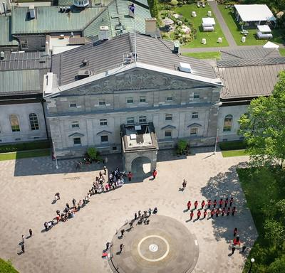 Drone shot Their Excellencies arriving at their new home following the Installation ceremony.