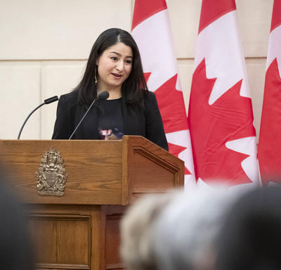 The Honourable Maryam Monsef is delivering remarks.