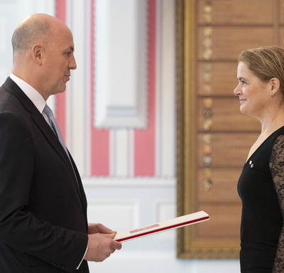 His Excellency Kerim Uras Ambassador of the Republic of Turkey presents his letters of credence to the Governor General.