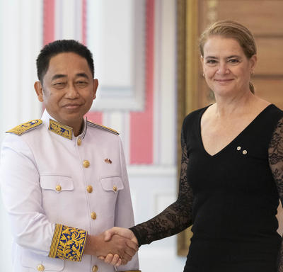 His Excellency Sovann Ke Ambassador of the Kingdom of Cambodia poss for a picture with the Governor General.