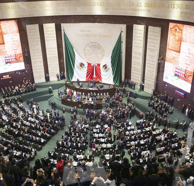 A wide-angle picture taken inside the congress.