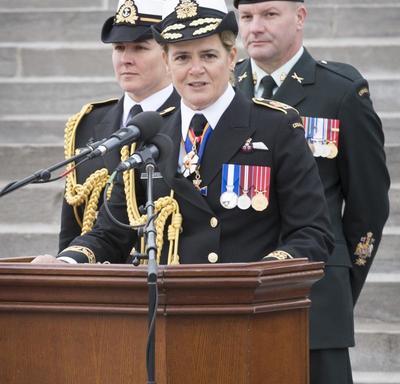 La gouverneure générale s'est s'adressée aux membres actifs et retraités de l'équipe de logistique provenant de tous les éléments de la Force régulière et de la Force de réserve et de toutes les régions du Canada.