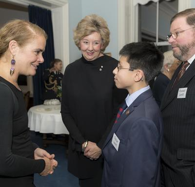 Her Excellency speaks to a student.