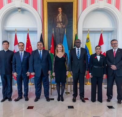 The new heads of mission pose for a group photo with the Governor General.