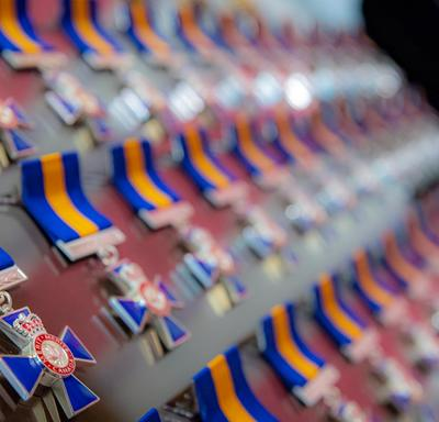 A close-up of the medals that are being issued.