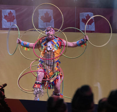 A First Nations hoop dancer performed.