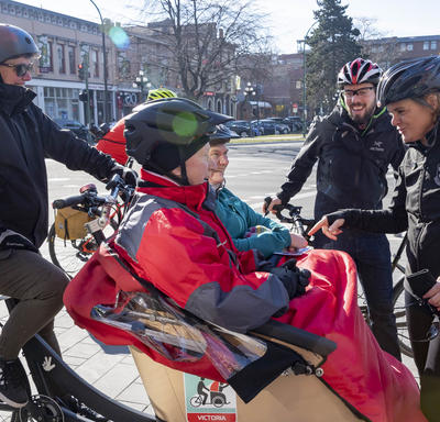 The Governor General spoke with cyclists.