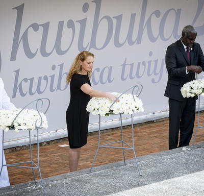 The Governor General is laying a wreath at the Kigali Genocide Memorial.