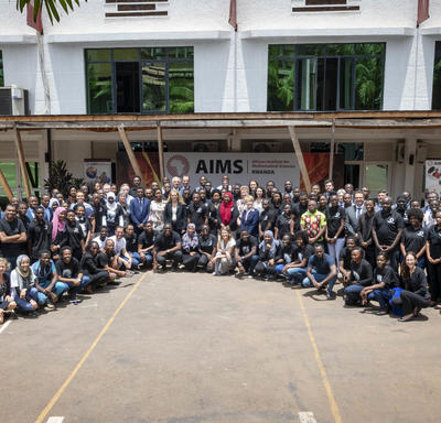 A group photo of members of the the African Institute for Mathematical Sciences.