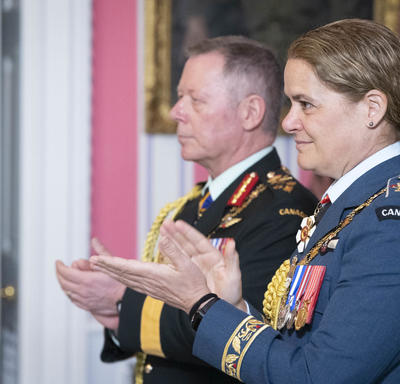 The Governor General and the Chief of the Defence Staff congratulate the recipients.